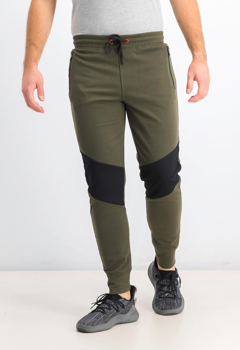 Men's Colorblock Jogger Pants, Army Green/Black