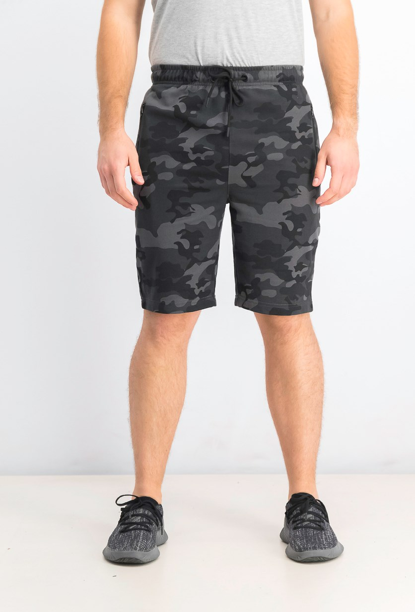 Men's French Terry Camouflage Shorts, Grey
