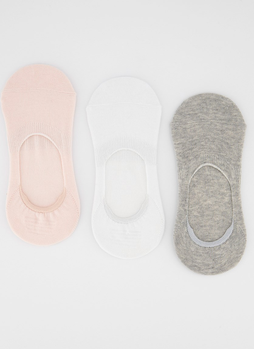 Women's 3 Pairs Invisible Socks, Pink/Grey/White