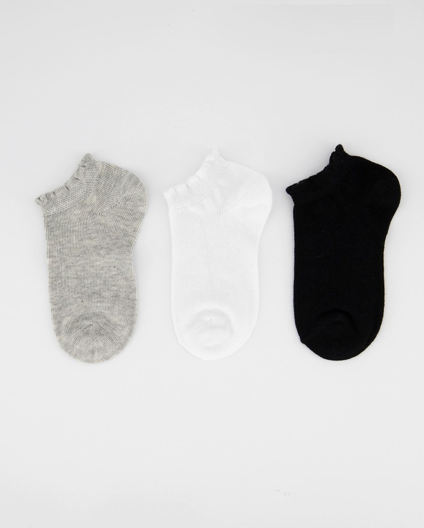 Girl's 3 Pairs Ankle Socks, Black/Grey/White