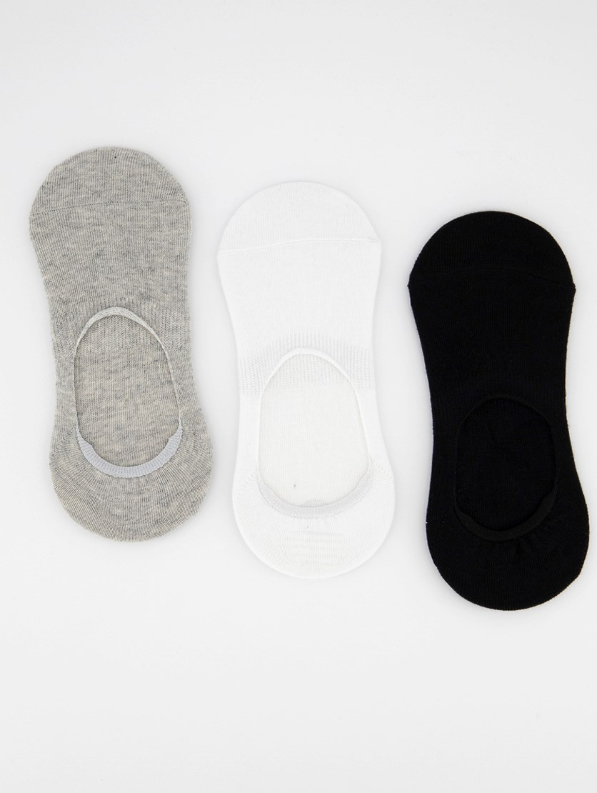 Women's Invisible 3 Pairs Socks, Grey/White/Black