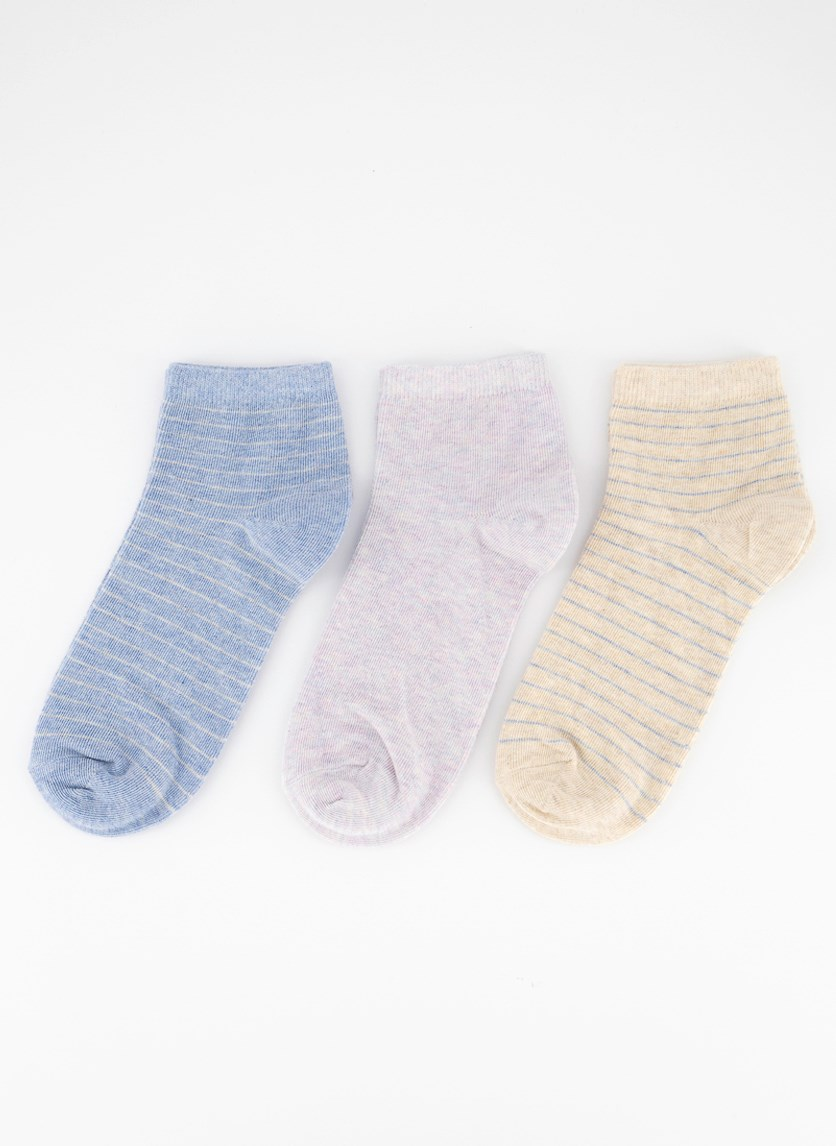 Women's Stripe Ankle Socks 3 Pairs, Beige/Purple/Blue