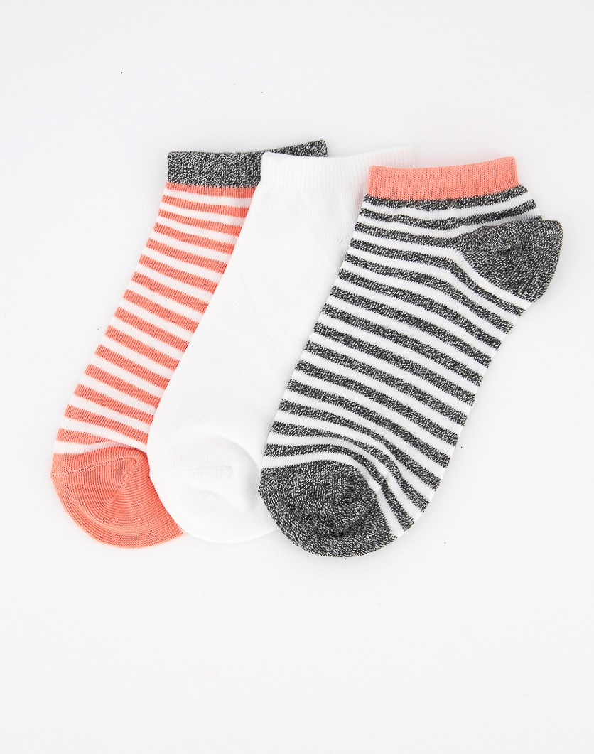 Women's 3 Pack Ankle Socks, Grey/White/Pink