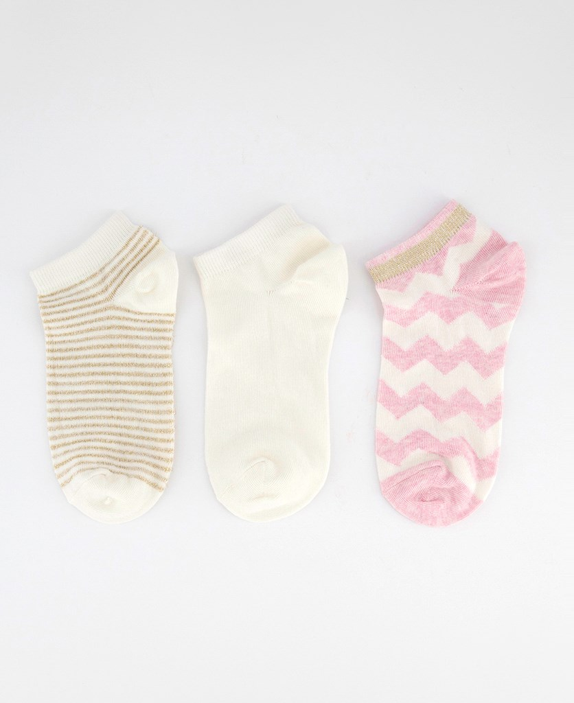 Women's 3 Pairs Ankle Socks, Light Pink/Off White/Gold
