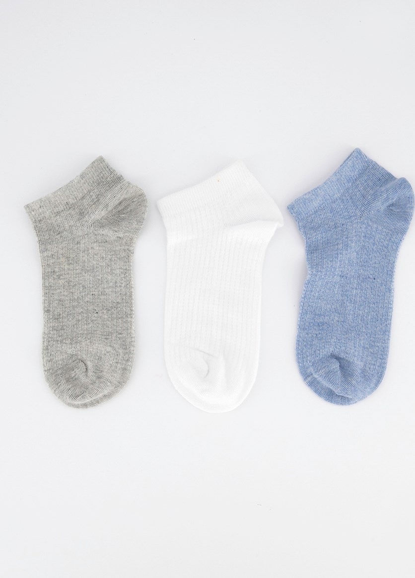 Women's 3 Pairs Ankle Socks, Gray/White/Blue