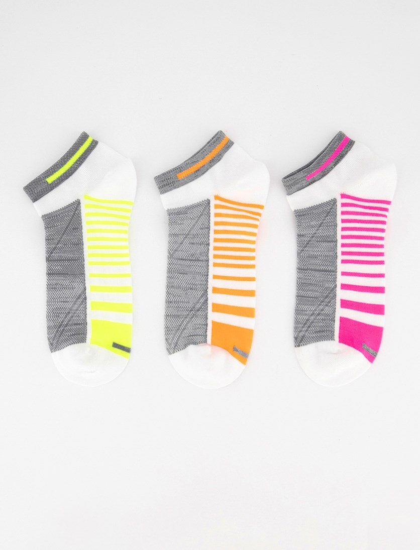 Women's 3 Pairs Ankle Socks, White/Lime/Pink/Orange