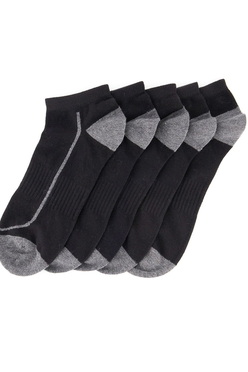 Men's Ankle Sport 5 Pairs Socks, Black/Grey