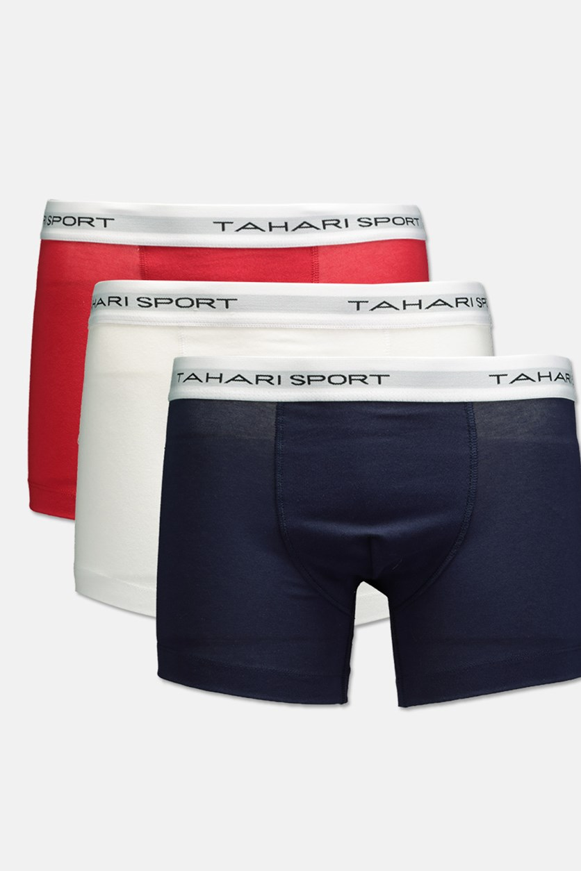 Men's 3 Pack Low Rise Trunks, White/Navy/Red