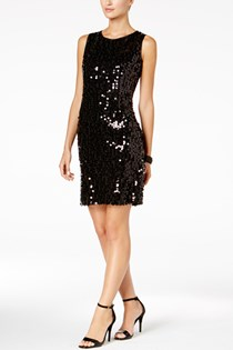 Women's  Sequin Sheath Dress, Black
