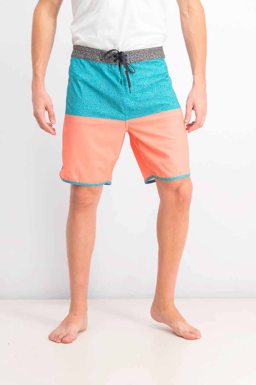Men's Mirage Spin Out Board Shorts, Blue/Coral