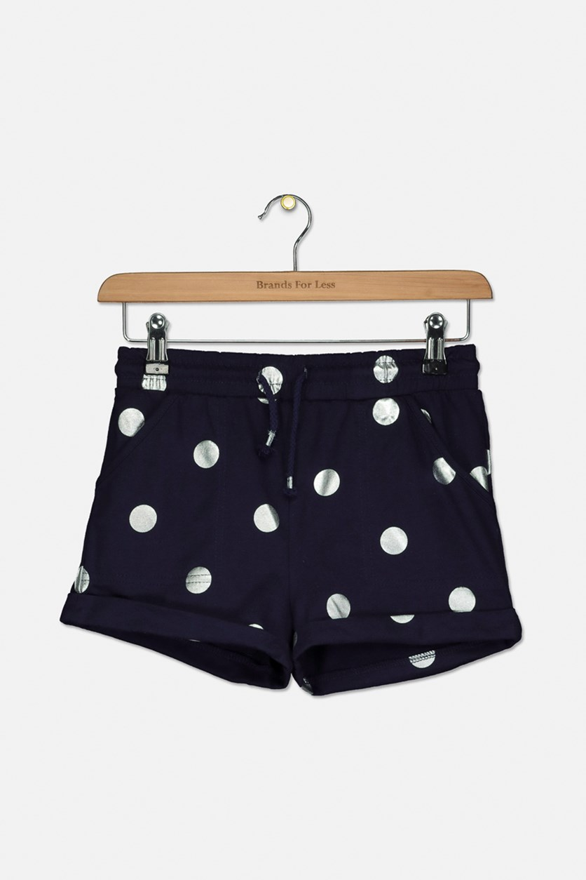 Girl's Polka Dots Pull On Short, Navy