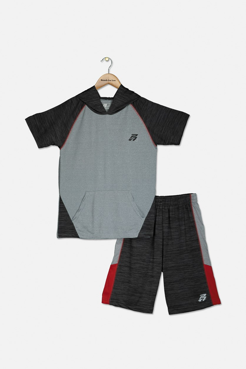 Kids Boys Hooded Tee & Short Set, Heather Gray/Charcoal