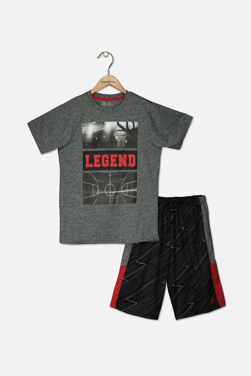 Kids Boys Legend Tee & Short Set, Dark Gray/Red/Black