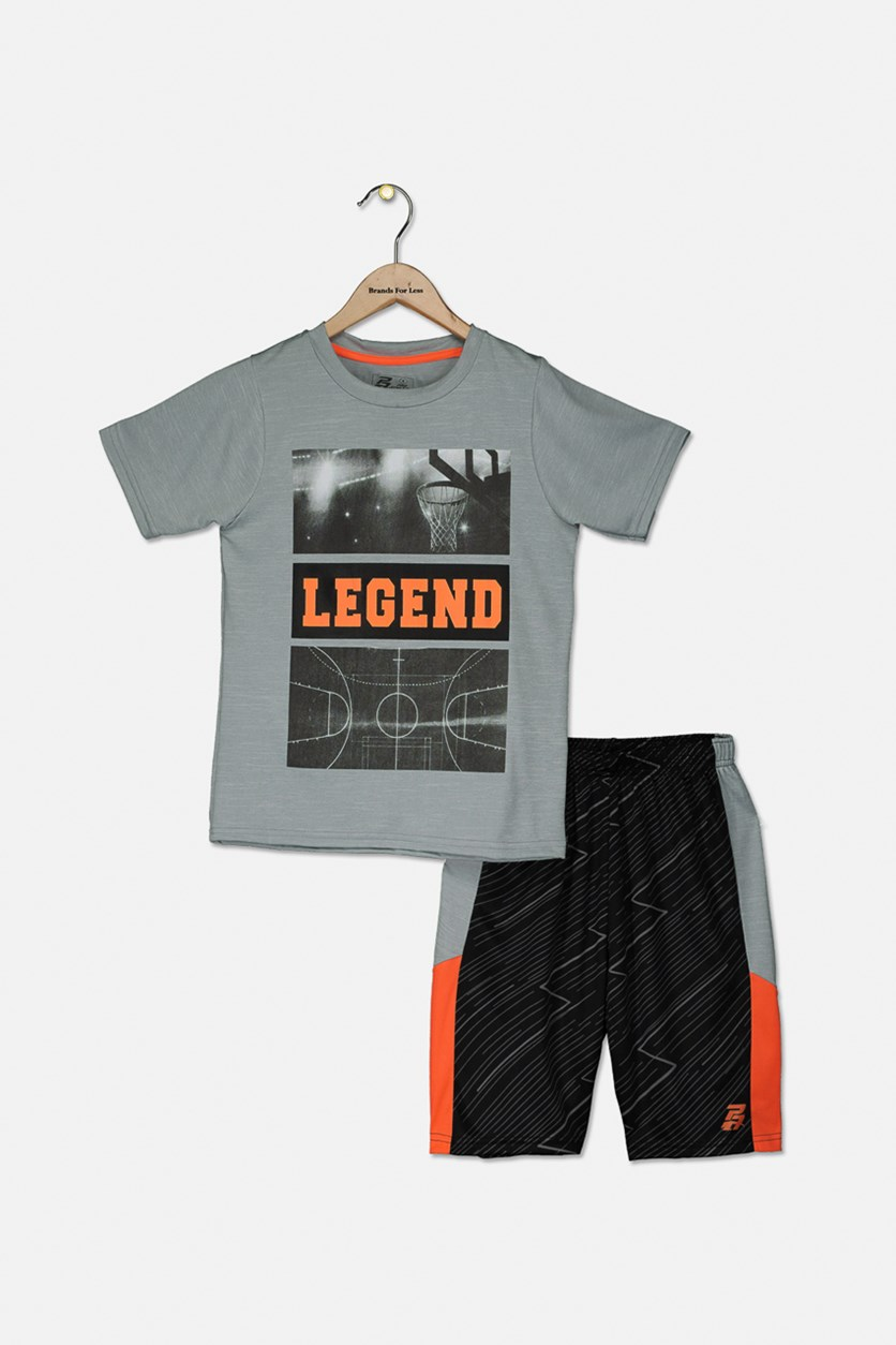 Kids Boys Legend Tee & Short Set, Gray/Neon Orange/Black