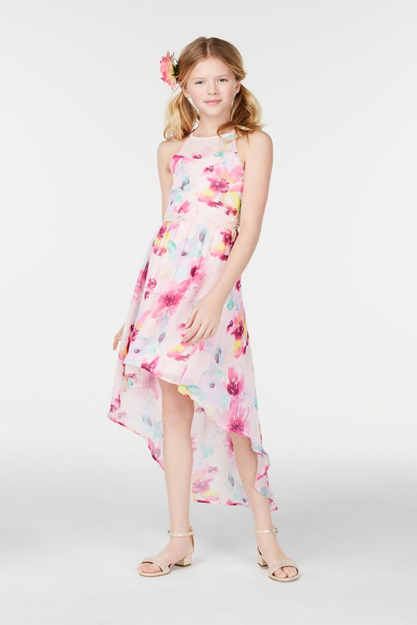 Big Girls Floral-Print High-Low Hem Dress, Pink Combo