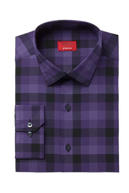 Men's Slim-Fit  Stretch Button Up Dress Shirt, Purple