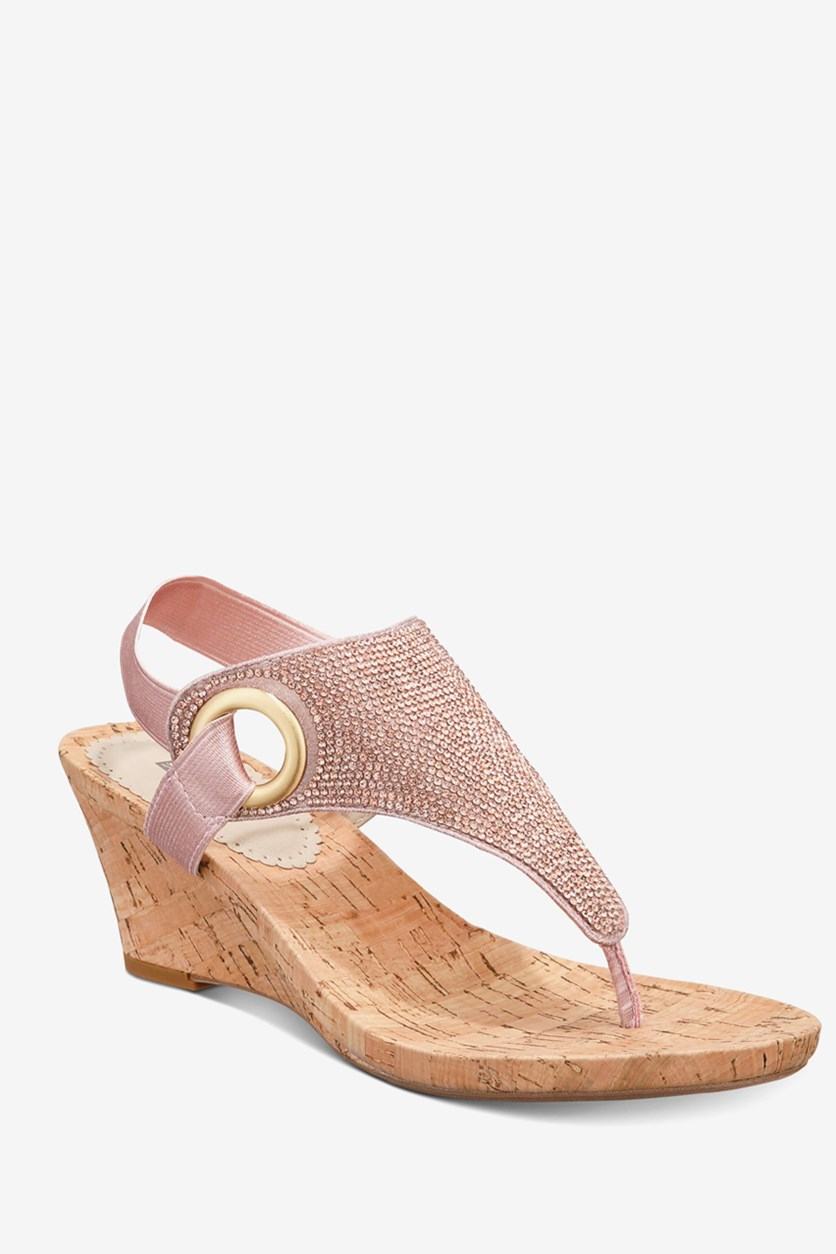 Women's All Done Wedge Thong Sandals, Metallic/Pink