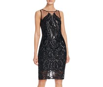 Women's Sequin Illusion Sheath Dress, Black