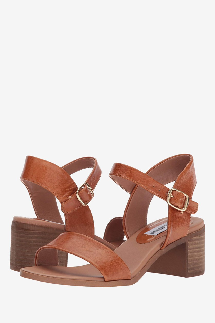 Womens April Leather Open Toe Casual Ankle Strap Sandals, Cognac