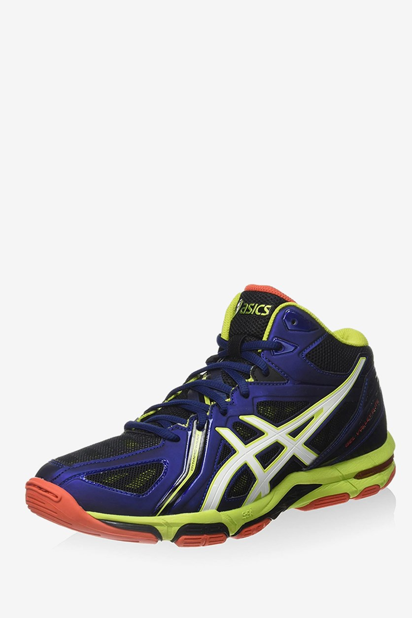 Men's Gel Volleyball Shoes, Navy Blue/Lime Green
