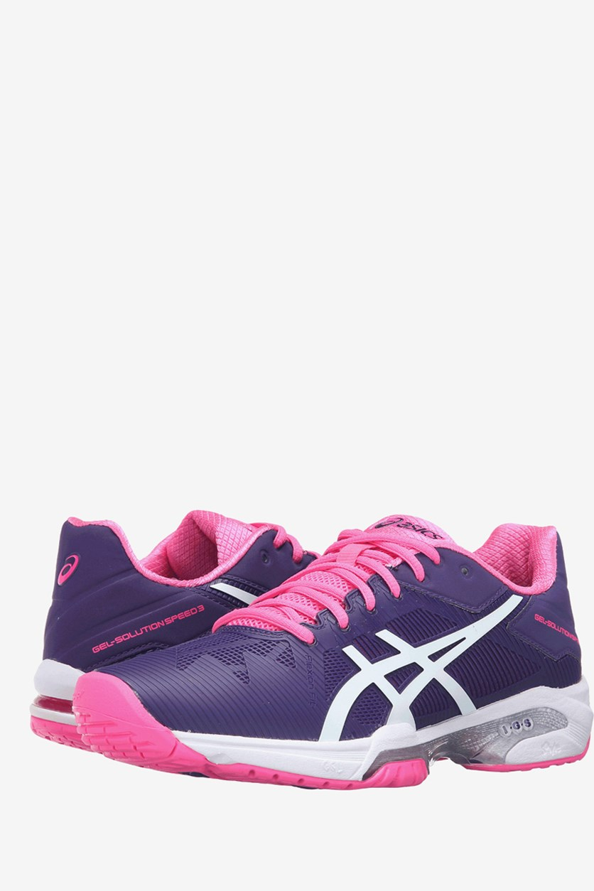 Women's Gel-Solution Speed 3 Tennis Shoes, Parachute Purple/White/Hot Pink