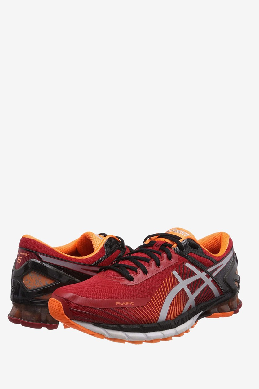 Men's Gel-Kinsei 6 Running Shoes, True Red/Silver/Hot Orange