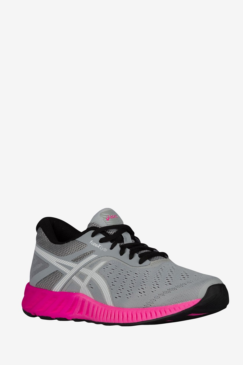 Women's FuzeX Lyte Running Shoes, Mid Grey/White/Pink Glow