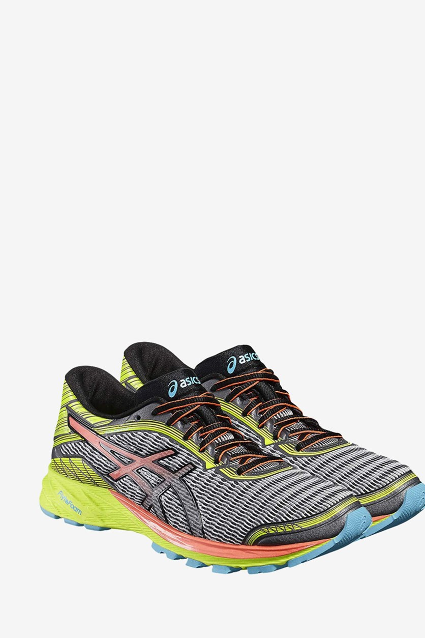 Women's DynaFlyte Running Shoes, Mid Grey/Flash Coral/Safety Yellow