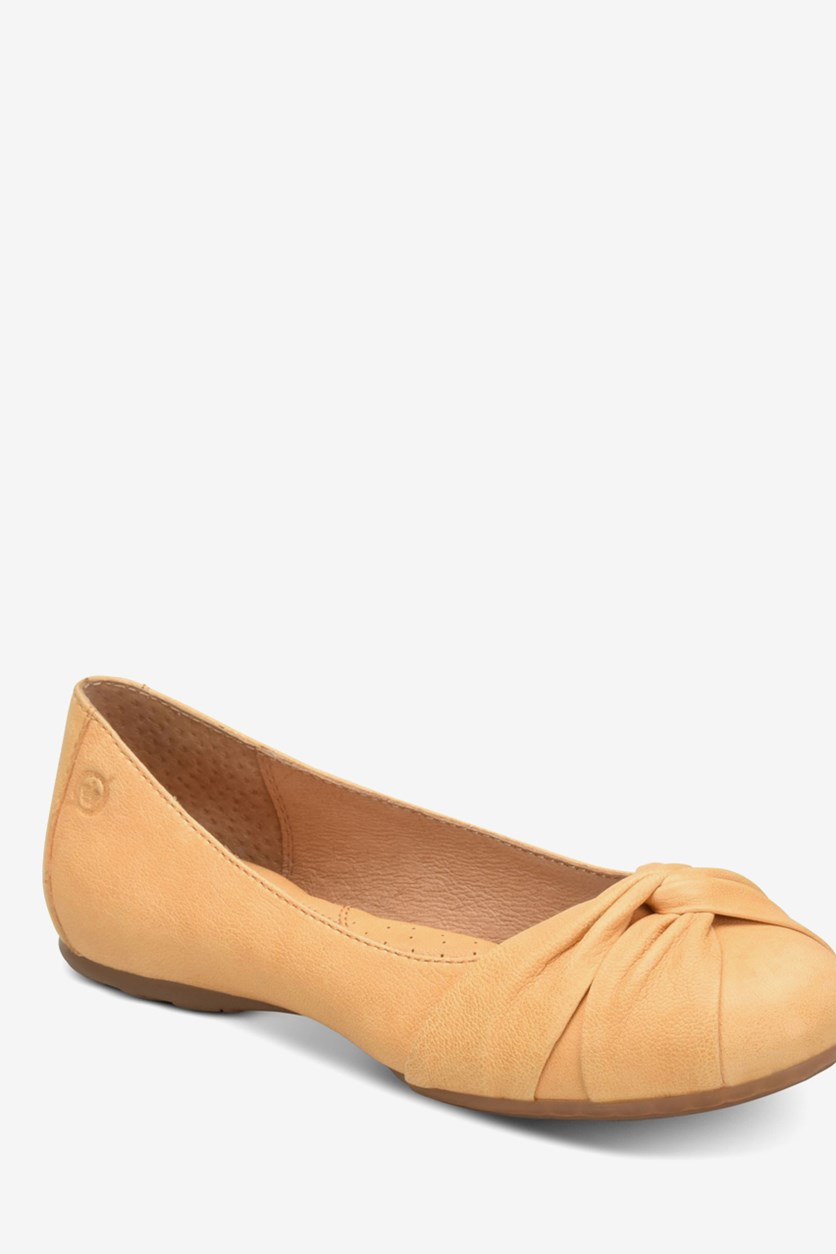 Women's Lilly Leather Flats Shoes, Light Orange