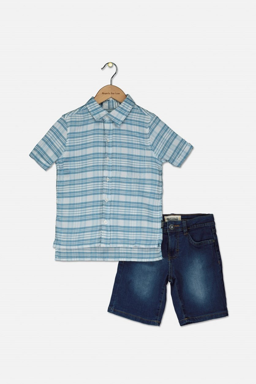 Boy's Plaid Polo and Denim Short Set, Dark Teal