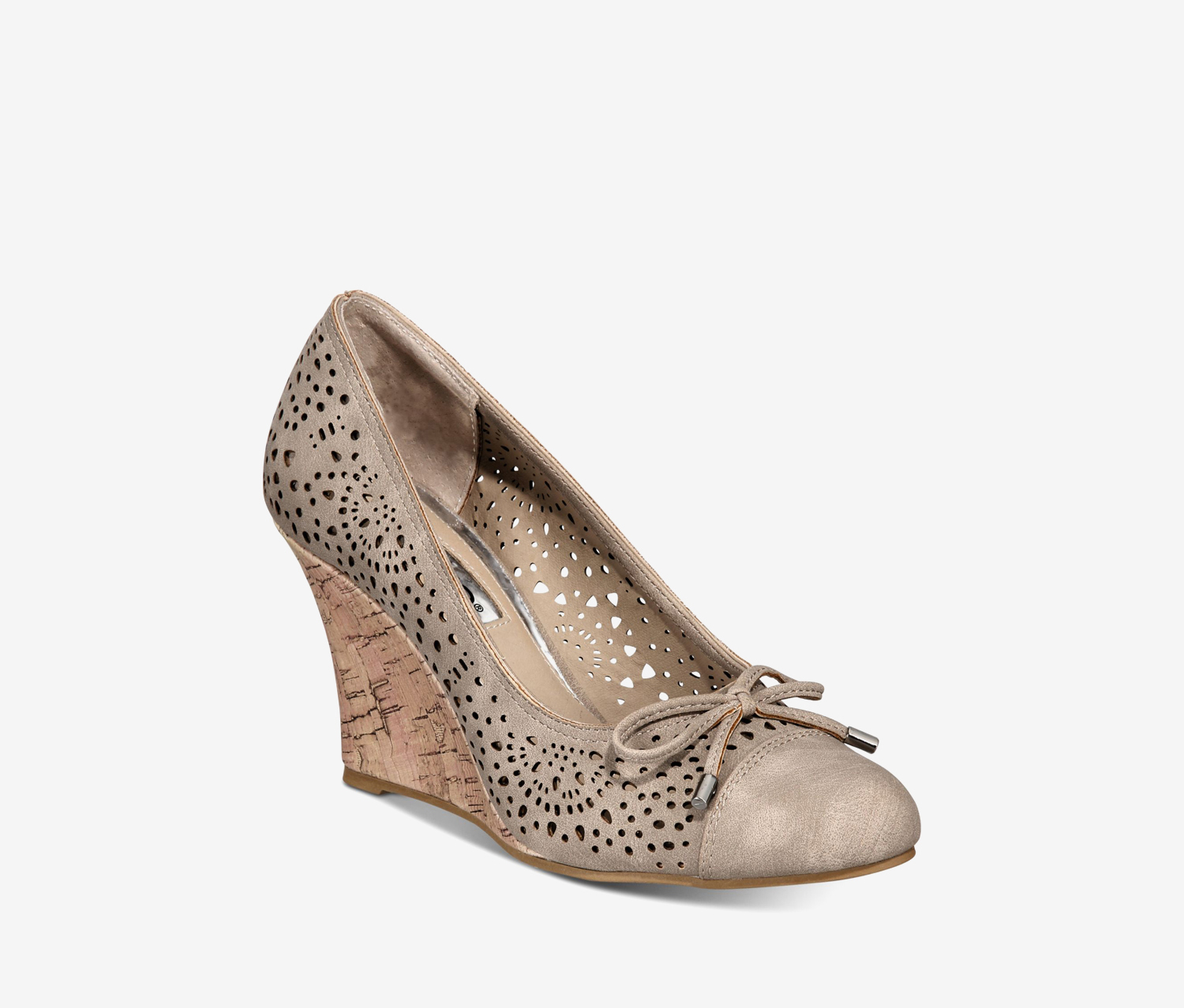 Women's Cameka Round Toe Wedge Pumps, Taupe Suede