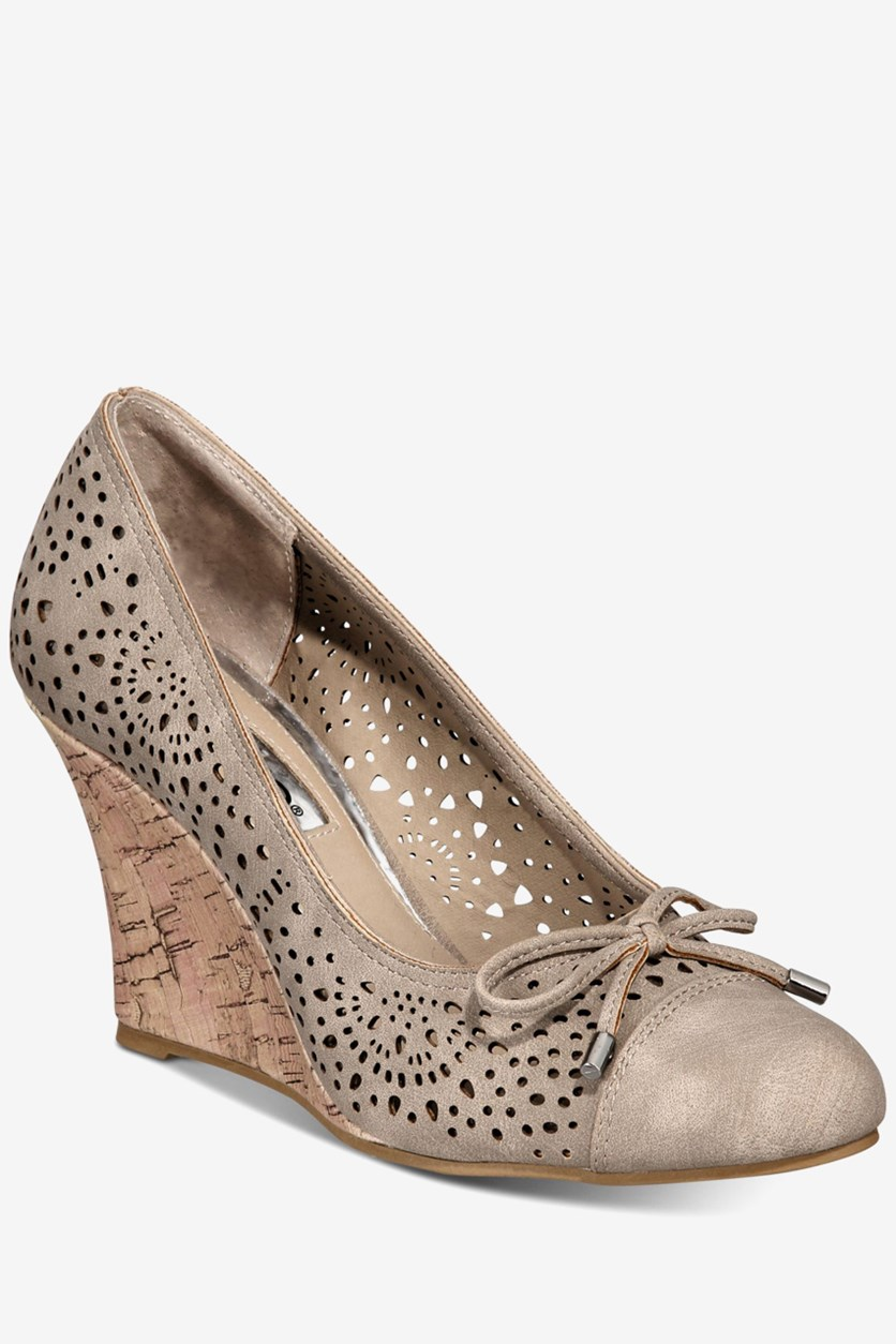 Women's Cameka Round Toe Wedge Shoes, Taupe Suede