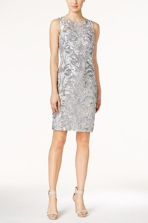 Women's Sequined Sheath Dress, Silver