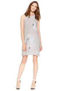 Women's Floral-Print Chiffon Shift Dress, Grey