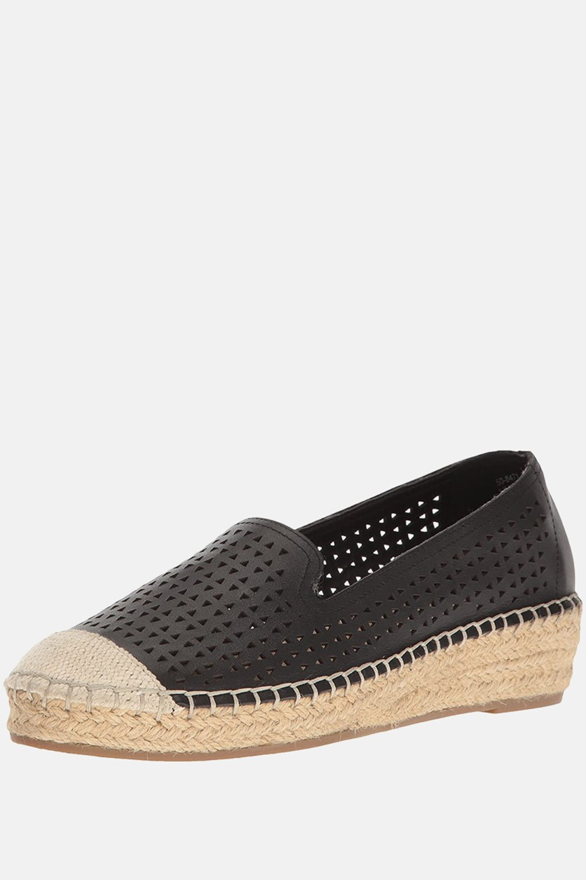 Women's Channing Leather Wedge Espadrilles, Black/Beige