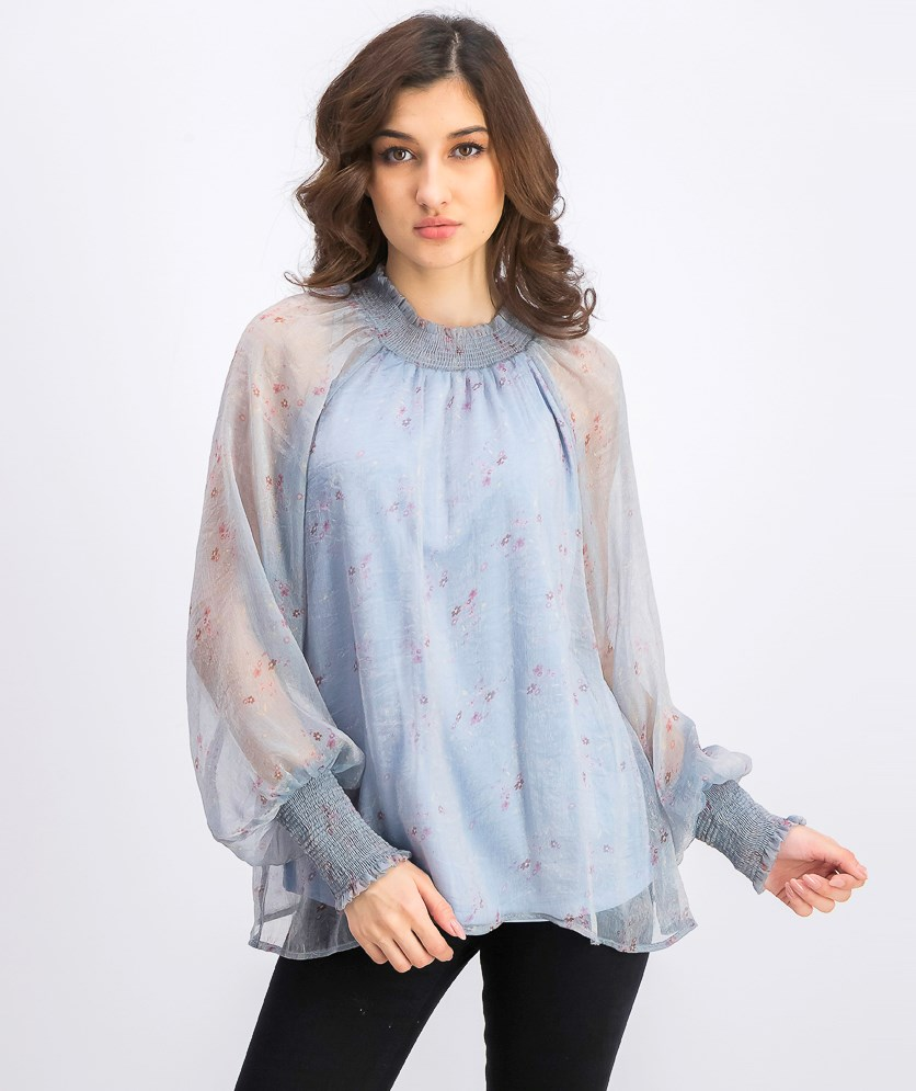 Women's Long Sleeve Mock Neck Blouse, Blue Combo