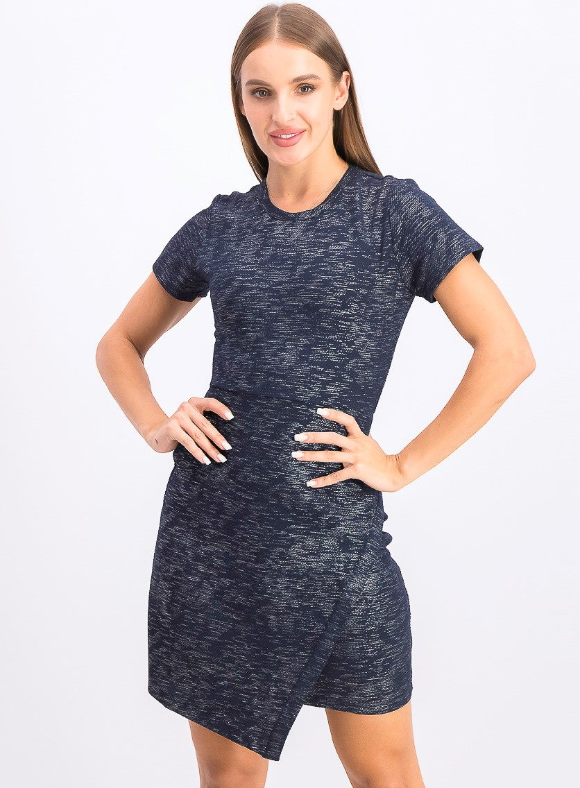 Women's Short Sleeve Bodycon Dress, Navy Blue/Silver