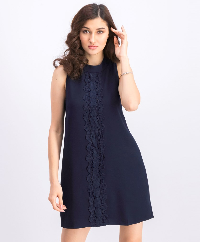 Women's Embroidered Sleeveless Dress, Navy Blue