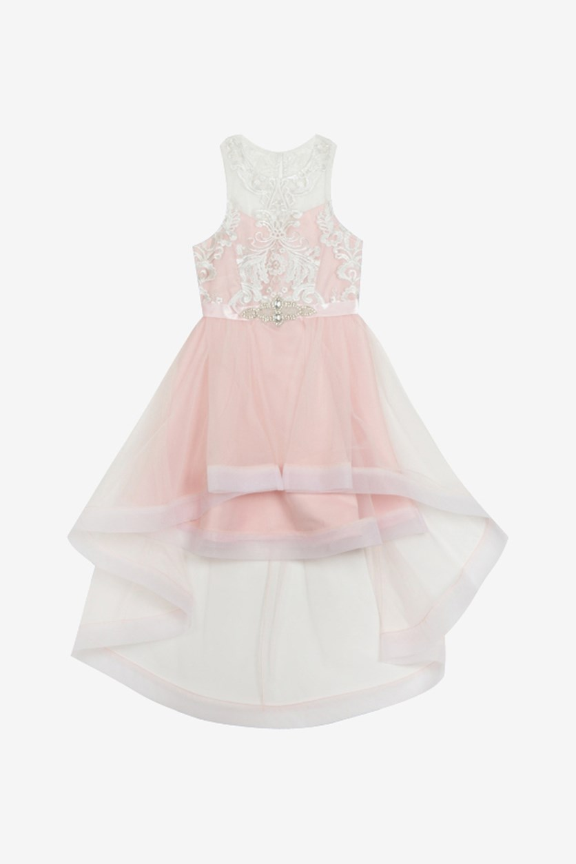 Big Girls Embroidered High-Low Dress, Blush