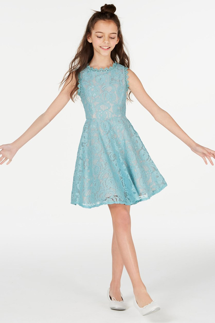 Big Girls Lace Fit & Flare Dress, Turquoise