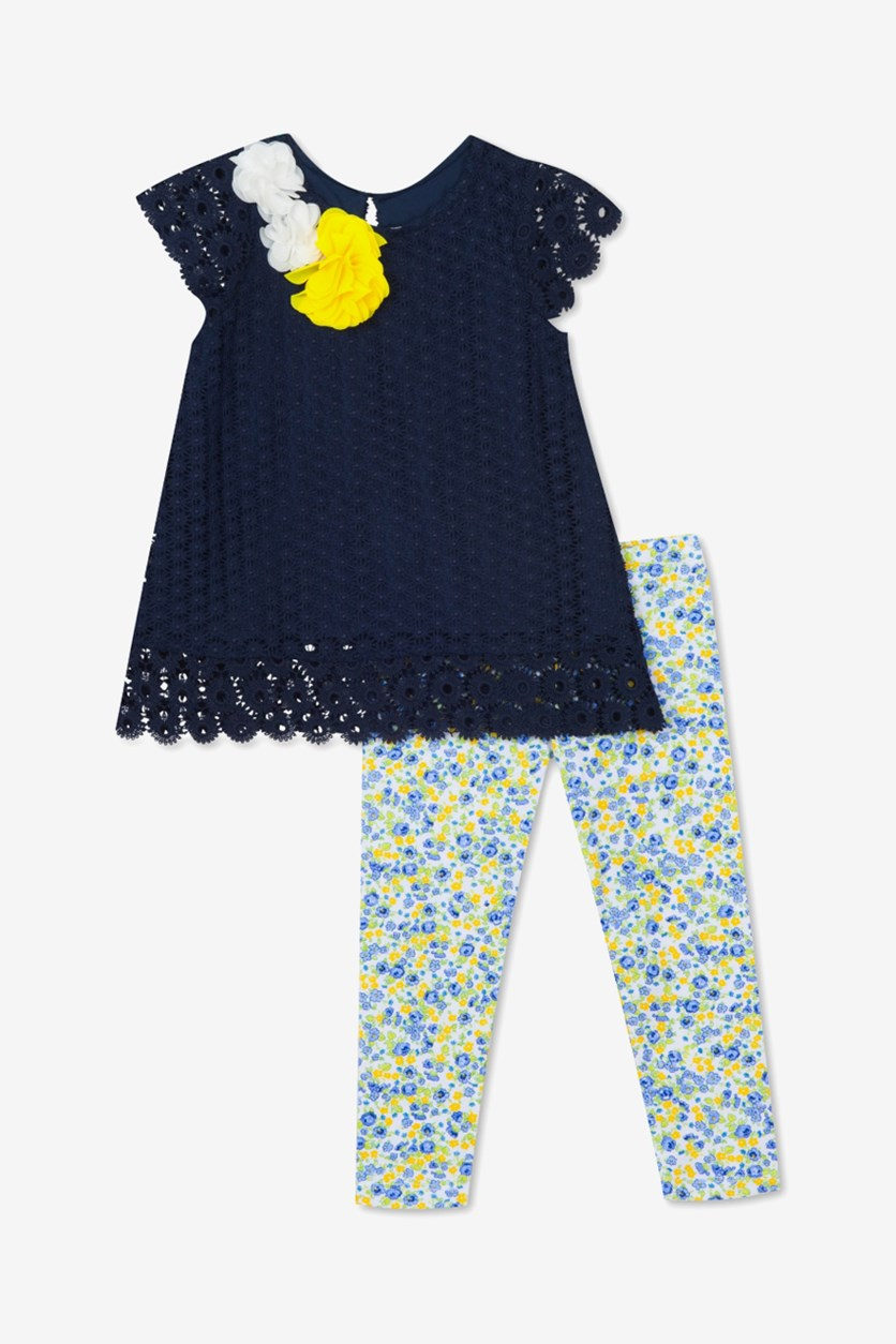 Toddler's Girls 2-Pc. Lace Tunic & Floral-Print Leggings Set, Navy Blue Combo