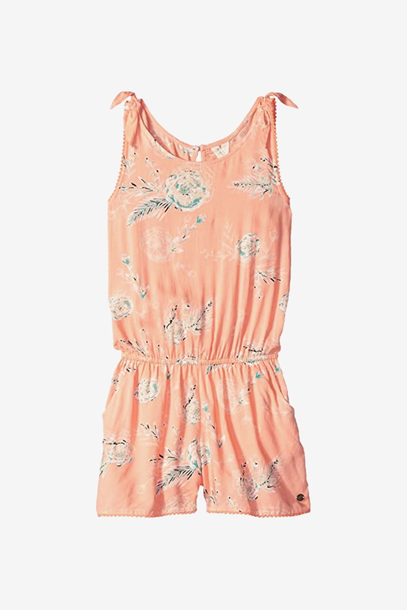 Big Girls Printed Romper, Salmon