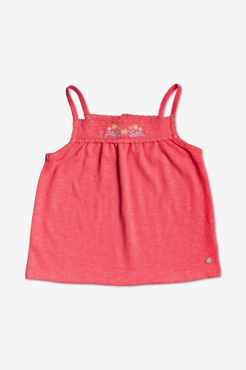 Little Girls Sure Things Embroidered Tank Top, Sunkist Coral