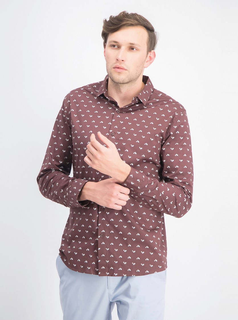 Men's Slim Fit Allover Print Shirt, Brown