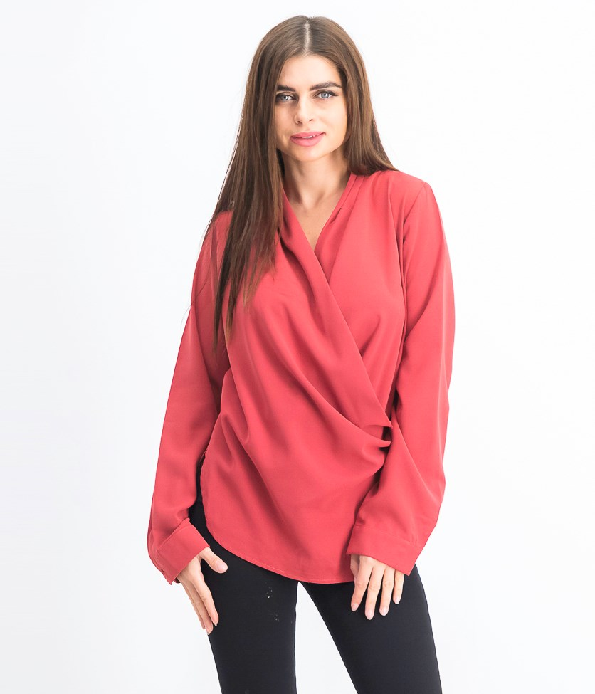 Women's Long Sleeve Blouse, Red