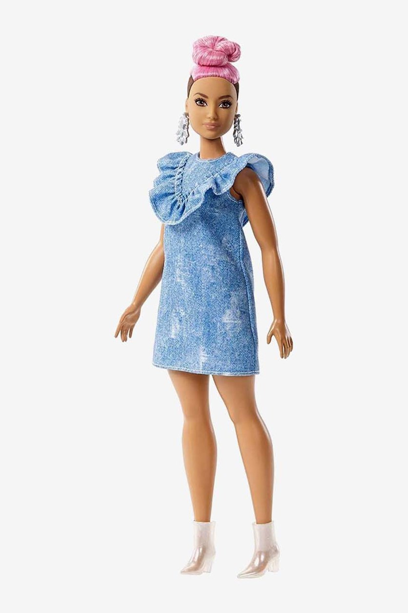 Fashionista Doll With A Texan Dress Look With A Bow, Blue