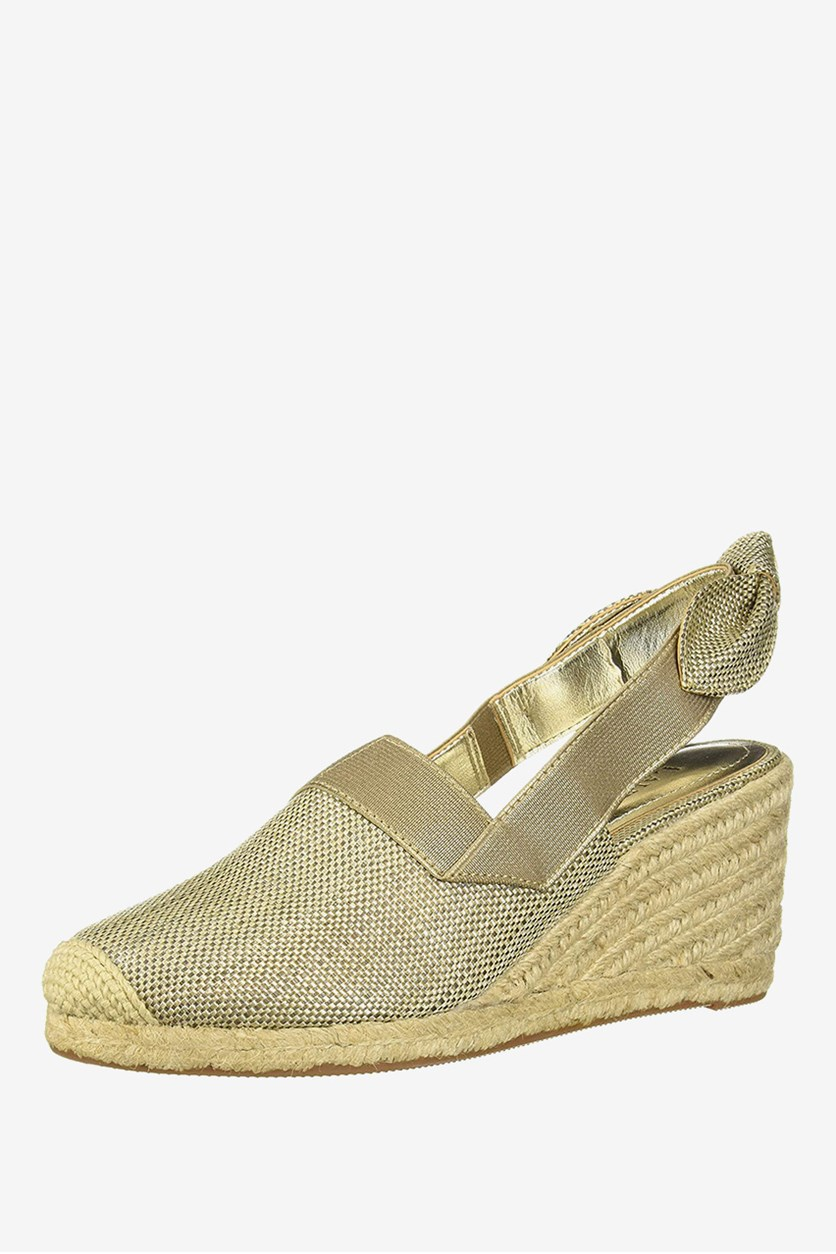Women's Helma Fabric Closed Toe Wedges, Gold