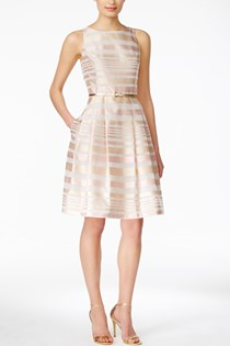 Women's Metallic Striped Belted Dress, Pink
