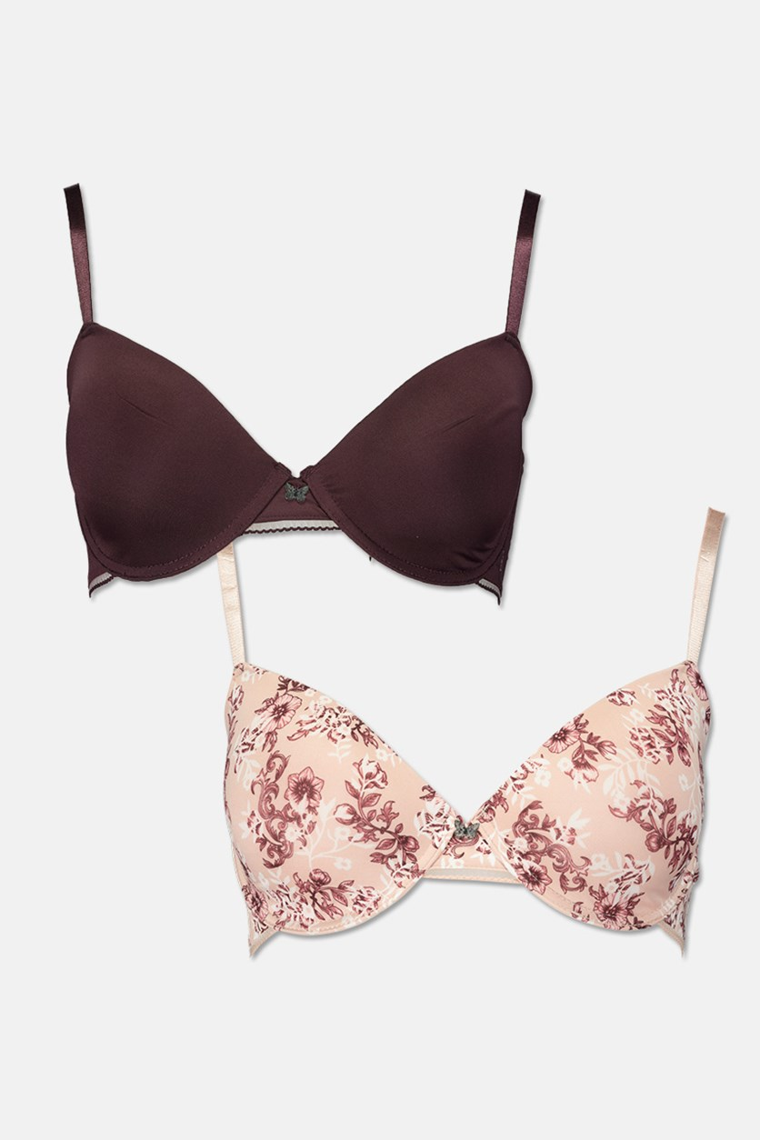 Womens 2 Pack Soft T-Shirt Cup Bra,Floral Maroon