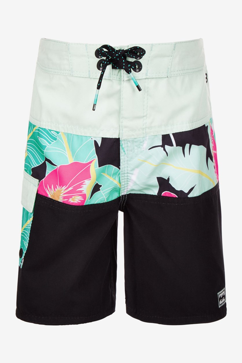 Kid's Boys Floral-Print Board Shorts, Black Combo